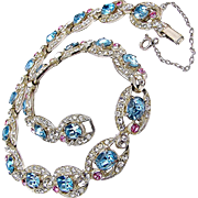Classic ART DECO Rhinestone Eye Candy Link Necklace w/ Rose 'n Aquamarine Accents c.1930's