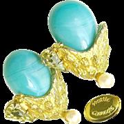 Vintage HATTIE CARNEGIE Glass Turquoise Flower Earrings w/ Pear Rhinestones