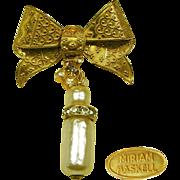 SALE Vintage MIRIAM HASKELL Fancy Bow Pin w/ Baroque Pearls 'n Rhinestone Drop