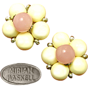 Pretty Vintage MIRIAM HASKELL Button Earrings of Pink Quartz 'n Ivory Glass Elements in Silver
