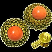 SALE Sensational Large Miriam Haskell Gilded Brass Artichoke Earrings w/ Swirling Coral Art Gl