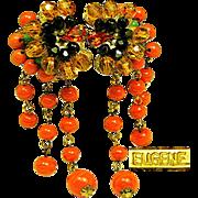 SALE Exotic EUGENE Art Glass Flower EARRINGS w/ Glass Coral Tendrils c.1950's