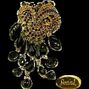 SALE Dazzling 5 Inch JONNE Waterfall / Flower Brooch of Art Glass w/ Rhinestones