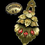 Striking S. FRIEDMAN N.Y. Floral Dress Pin Clip w/ Fuchsia Rhinestones c.1940's
