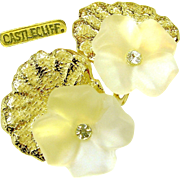 3-D CASTLECLIFF Earrings of a Frosted Crystal PANSY Shadowed w/ Gleaming Textured Gold Plate