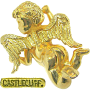 SALE Fantasy Castlecliff -Golden Cherub has Just Landed- Brooch Dubbed a 'Pinch Pin' c.1966