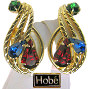 SALE Gorgeous Hobé Jewel-tone Rhinestone CLIMBER Earrings - Pat. Pend. circa early 1950's