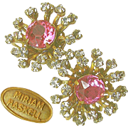 SALE GORGEOUS Rare MIRIAM HASKELL Vintage Pink Center Earrings w/ Bursts of Prong Set PASTES c