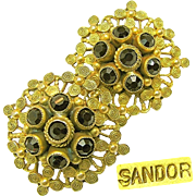 SALE Ornate SANDOR Gilded Brass Victorian Revival EARRINGS w/ Garnet Rhinestones c.1940's