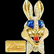 Whimsical KARU Colorful Rabbit Brooch w/ Bright Blue Rhinestone Eyes