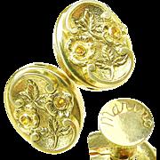 SALE MARINO's Golden Puffy Victorian Revival Floral Earrings w/ Honey Rhinestones c.1940's