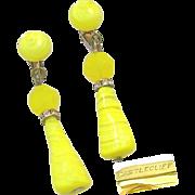 SALE Strikingly Beautiful CASTLECLIFF Earrings of Swirling Yellow Art Glass Pendants w/ ...