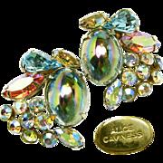 SALE Vintage Alice Caviness Earrings of Watermelon Stones 'n Glitzy Rhinestones c.1950s