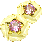 SALE Vintage SANDOR CALLA LILY Earrings w/ Pink Headlight Rhinestones c.1940's