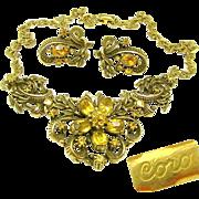 Outstanding CORO Victorian Revival Necklace 'n Earrings Curly Ribbon w/ Rhinestone Flower ...