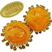 SALE Yummy Vintage MIRIAM HASKELL Swirling Butterscotch Art Glass Earrings Haloed w/ Root Beer