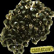 SALE Vintage CASTLECLIFF Earrings Gold over Sterling w/ Black Glass in Multiple Pendants c.194