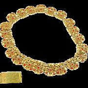 Stunning TRIFARI Flower BLOSSOM Links Necklace w/ Red Rhinestones Pat.1949