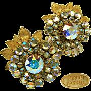 SALE Vintage MIRIAM HASKELL Floral EARRINGS w/ Glitzy Aurora Borealis Rhinestones c.1950's