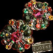 SALE Elegant EUGENE Earrings of Rainbow Rhinestone Rose Montee w/ Faceted Black Glass c.1950's