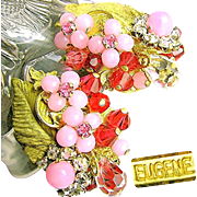 SALE Vintage EUGENE Floral Earrings of Layers of Pink Rhinestones 'n Art Glass c.1950's