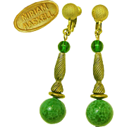 SALE MIRIAM HASKELL's Opulent Pendant Drop Vintage Earrings of Speckled Green Art Glass