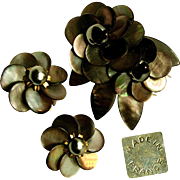 SALE Exquisite French Floral Pin Clip Set c.1940's Signed Depose of Sultry Sable Abalone