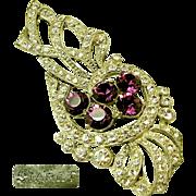 SALE Lg. STARET Bow Brooch Clear White & Purple Rhinestones c.1940