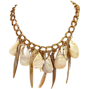 SALE Lovely Ocean Abalone Shell Tribal Necklace