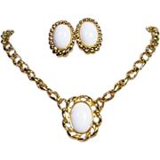 SOLD Monet- White Cabochon Golden Necklace Earring Set