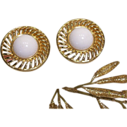 SALE Trifari - Large Golden White Cabochon Earrings
