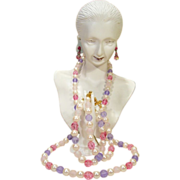 Beautiful Pinks-Purple Bead-Pearl Necklace Bracelet Earrings