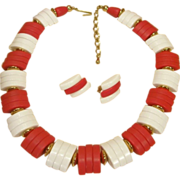 SALE Red and White Bead Necklace Set