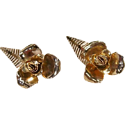 Vintage Coro Large Gold Flower leaf Earrings
