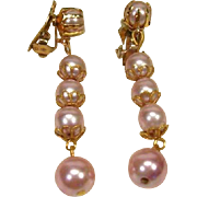 SALE Vintage Pearly Pink Dangling Earrings