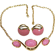 Vintage Monet Dusty Rose Pink Omega Style Necklace Set
