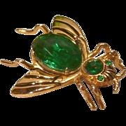 Vintage Green Rhinestone Fly Pin ~Coro~