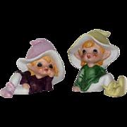 SALE Homco Set Of 2  Fairie Pixies Figurines