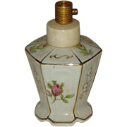 Vintage  Irice Hexagon Flowered Pump Perfume Bottle