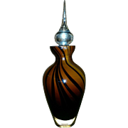 Tall Brown and Black Glass perfume bottle with glass dauber