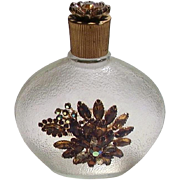 Gorgeous Vintage Textured Bottle with Amber Spray of Rhinestones