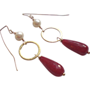 SOLD Ruby and Freshwater Cultured Pearl Gemstone Earrings - Red Tag Sale Item