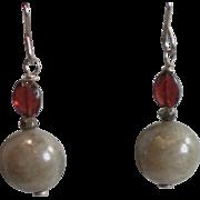 Labradorite and Garnet Gemstone Earrings