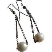 Trapeze Earrings: White Freshwater Cultured Pearls with Silver-Tone Chain
