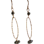 Pyrite Nugget Gem Earrings with 14k Gold Fill