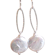 XL White Freshwater Cultured Coin Pearls, Earrings with Sterling Silver