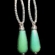 Moss Opal Gem Earrings with Sterling Silver