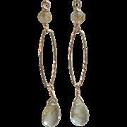 Golden Rutilated Quartz Gemstone Earrings