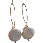 XL White Freshwater Cultured Coin Pearls, Earrings with 14k Gold Fill