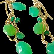 Chrysoprase And Emerald Long Gemstone Earrings